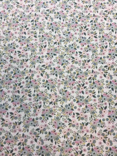 Algodón Estampado Flores Rosa-Gris