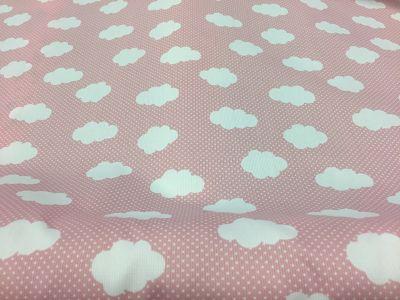 Piqué Canutillo Estampado Nubes Blancas sobre Rosa