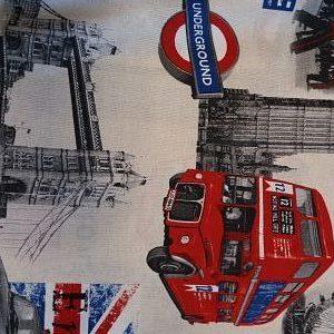 Loneta Estampado Londres Rojo y Azul