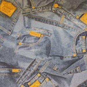 Loneta Estampada Jeans Azules y Amarillo