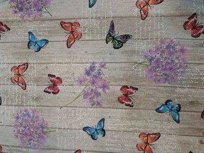 Loneta Estampada de Mariposas efecto Madera