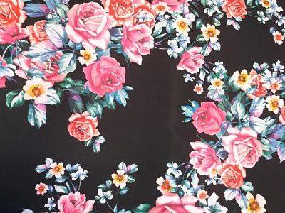 Tergal Estampado Flores sobre Marino
