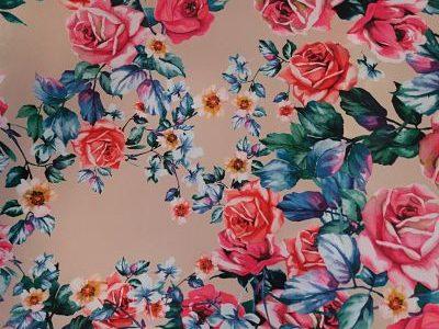 Tergal Estampado Flores tonos Salmón