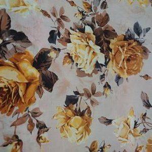 Tergal Estampado Flores tonos Amarillos