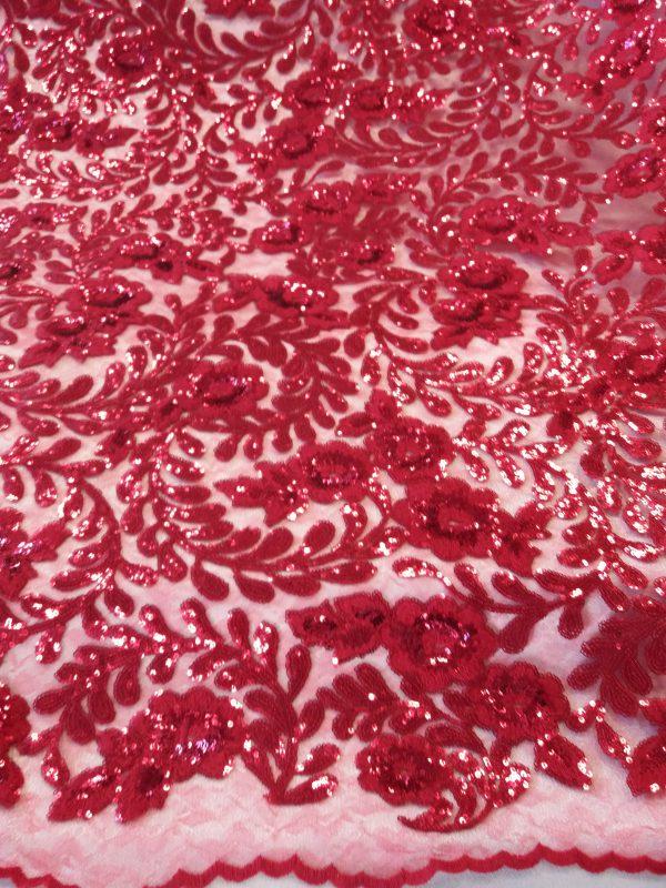 Lentejuela Entramado Floral en Rojo