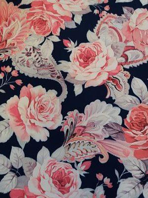 Bielástica Estampado Flores Rosa sobre Marino