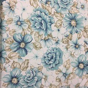 Viella Estampada Floral Azul y Tierra