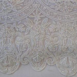 tela Tul Bordado con Lentejuelas y Pedrería Blanco Roto