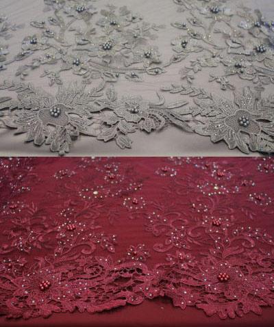 tela de tul con pedrería varios colores