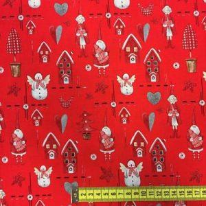 Tela algodón estampado Navidad casas rojas