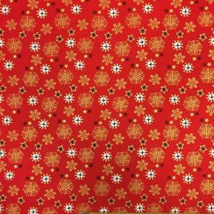 Tela algodón estampado Navidad estrellas doradas sobre rojo