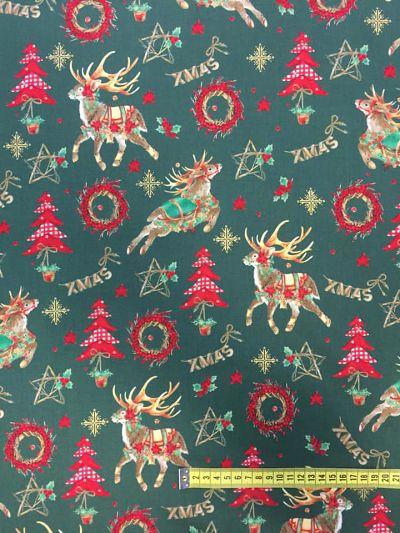 Tela algodón estampado Navidad renos