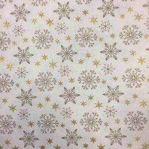 Tela algodón estampado Navidad estrellas doradas