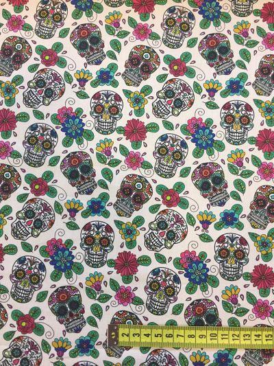 Tela algodón calaveras mexicanas