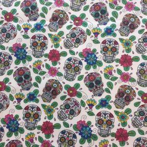 Tela algodón estampado calaveras mexicanas