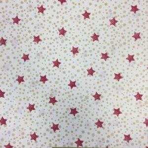 Tela algodón estampado Navidad estrellas rojas