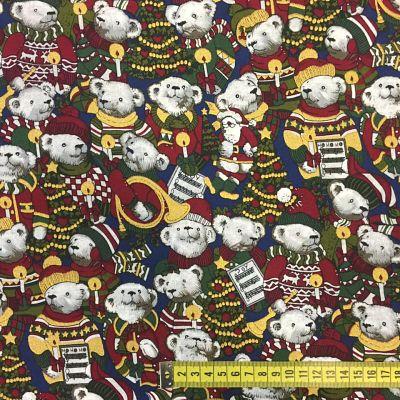 Tela algodón estampado Navidad osos musicales
