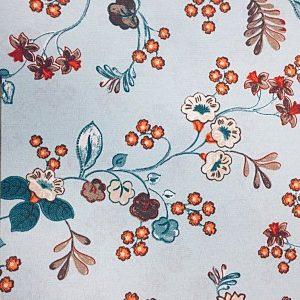 Loneta estampado flor sobre crudo