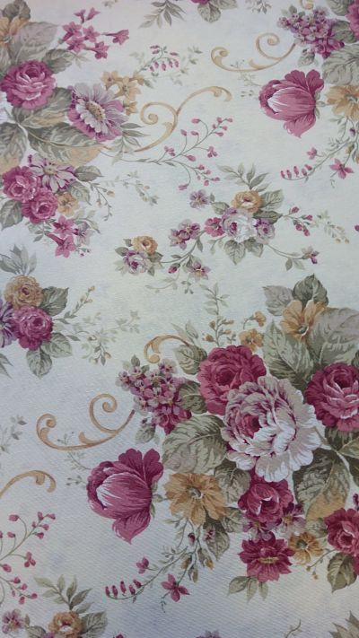 loneta floral sobre beige