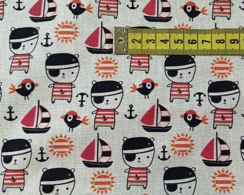 tela algodón piratas y barco